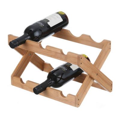 Bamboo 6 Bottle Foldable Wine Rack