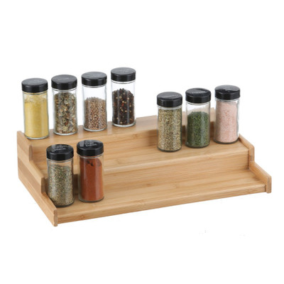 Bamboo 3-Tier Step Shelf Spice Rack