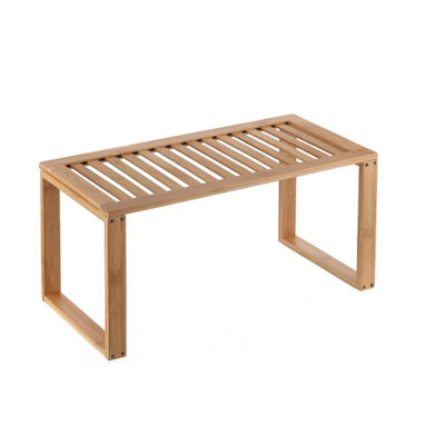 Bamboo Rectangular Cabinet Pantry Shelf Stacker