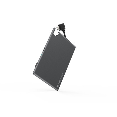 Swiss Mobility Alloy Battery Card Power Pack 1350MAH with Lightning Connector - Black/Grey