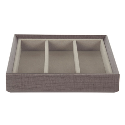Stackable Jewellery Organiser Tray 3 Compartment - Brown Timber