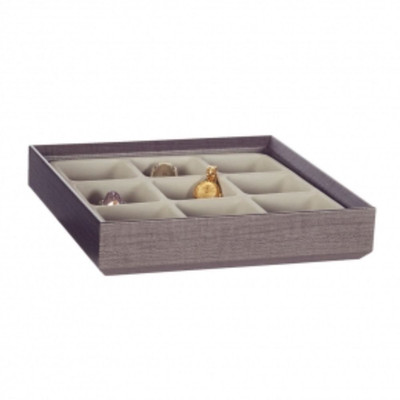 Stackable Jewellery Organiser Tray 9 Compartment - Brown Timber