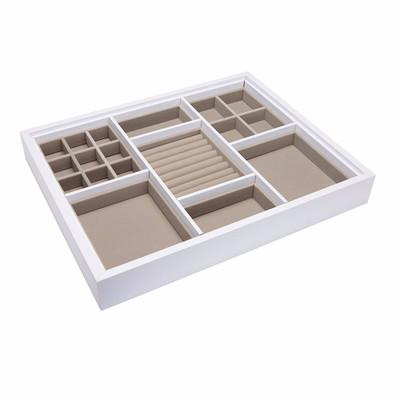 Multi Compartment Jewellery Drawer Medium Organiser for Elfa - White/Beige
