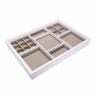 Multi Compartment Jewellery Drawer Large Organiser for Elfa - White/Beige