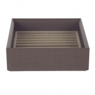 Stackable Jewellery Organiser Tray Ring Holder - Brown Timber