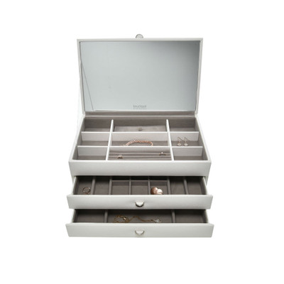 Jewellery Box with Mirrored Lid Large - White