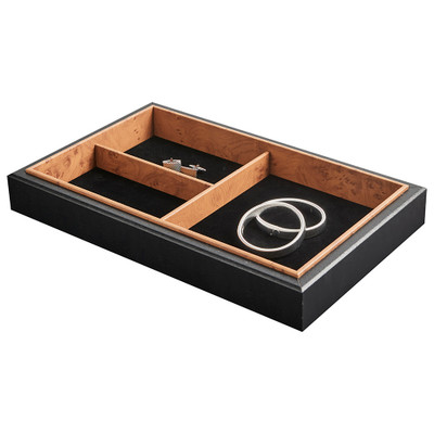 Stackable Jewellery Organiser Tray 3 Compartment - Black