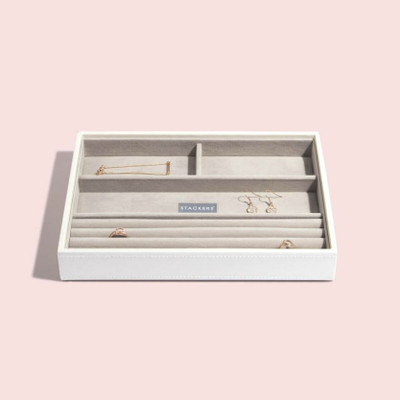 Stackers Classic Jewellery Box Tray 4 Compartment - White