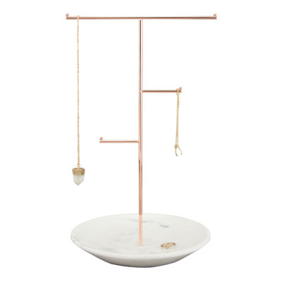 Stackers Jewellery T-Bar Stand with Dish - Rose Gold/Marble