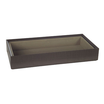 Stackable Jewellery Organiser Tray Rectangle Deep - Brown Timber