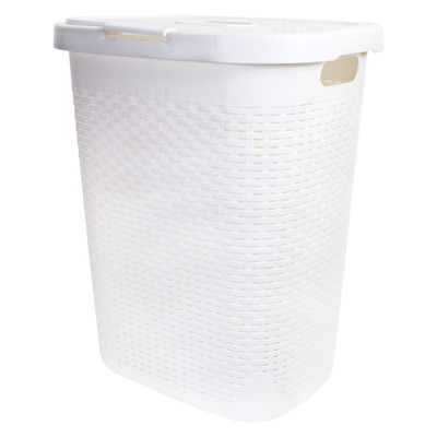 Howards Rectangular Plastic 50L Laundry Hamper - White Rattan