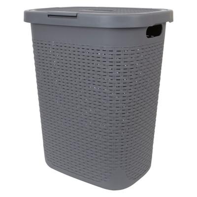 Howards Rectangular Plastic 50L Laundry Hamper - Grey Rattan