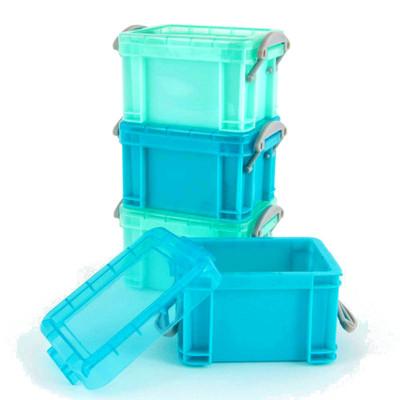 Howards Set of 4 Plastic Storage Boxes with Lids Mini 140ml - Blue/Aqua