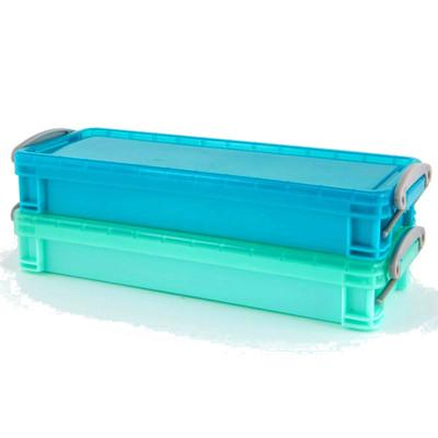 Howards Set of 2 Plastic Storage Boxes with Lids Long 300ml - Blue/Aqua