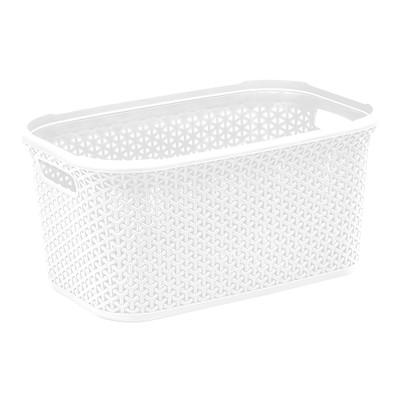 Howards Rectangular Plastic 28L Laundry Basket - White Rattan
