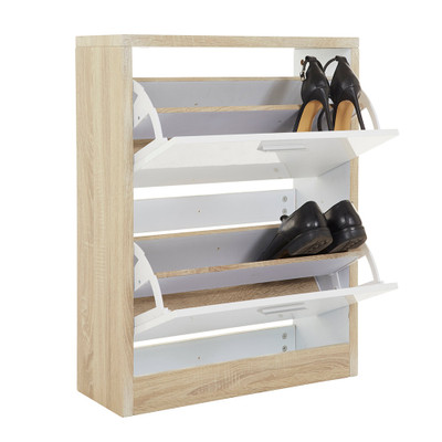 Howards Shoe Cabinet 2 Drawers - White/Brown