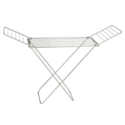 iDesign Brezio Expandable Aluminium Clothes Airer Drying Rack - Silver