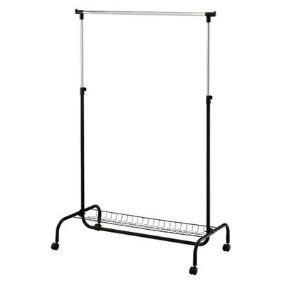 Howards Garment Rack with Bottom Shelf - Black/Chrome