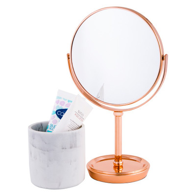 Howards Double Sided Pedestal Mirror - Rose Gold