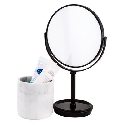 Howards Double Sided Pedestal Mirror - Matt Black