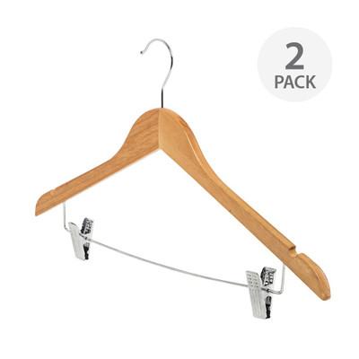 Howards Timber Coat/Pant Hanger 2 Pack - Natural