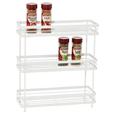 Howards Powder Coated Wire Freestanding 3-Tier Spice Rack - White