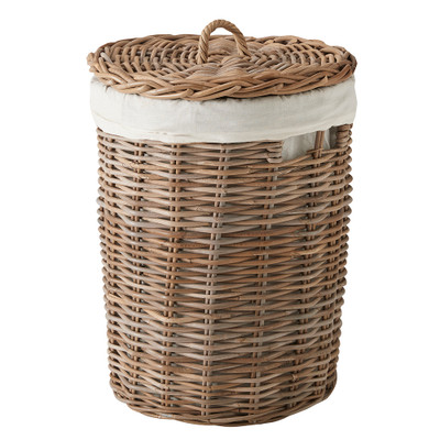 Rattan Round Laundry Hamper Basket with Lid