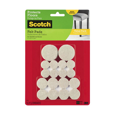 Scotch Furniture Felt Pads Beige Assorted 36 Pack