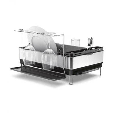 simplehuman Stainless Steel Frame Dishrack with Wine Glass Holder