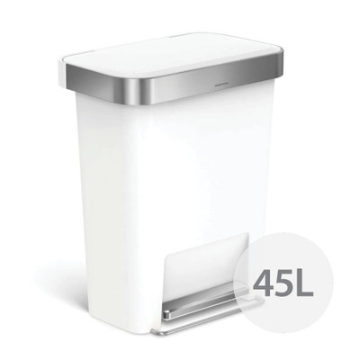 simplehuman 45L Rectangular Step Rubbish Bin - White