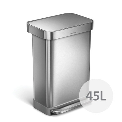 simplehuman Rectangle Step Can Rubbish Bin 45L - Stainless Steel