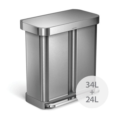 simplehuman 58L Pedal Dual Compartment Recycling Rubbish Bin - Stainless Steel