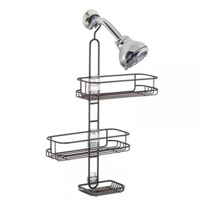 iDesign Linea Adjustable Shower Caddy Bronze