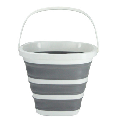 Collapse-A Square Bucket with Handle 10L - Grey & White