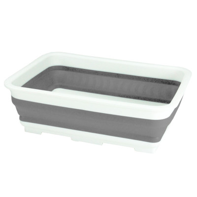 Collapse-A Rectangular Washing Up Container 9L - Grey & White