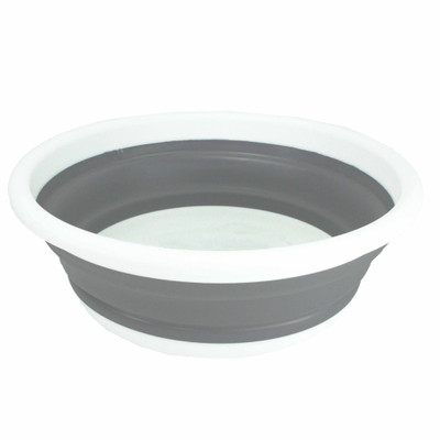 Collapse-A Round Wash-Up Bowl 9L - Grey & White