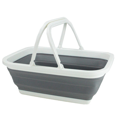 Collapse-A Storage Basket with Handles - Grey & White