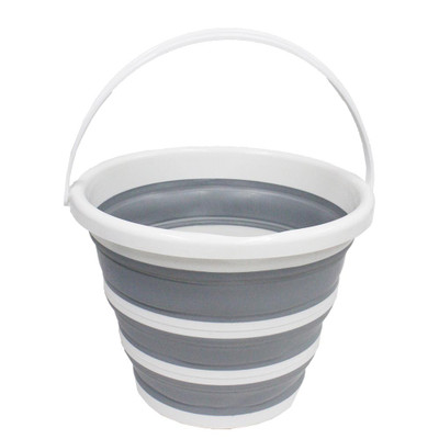 Collapse-A Round Bucket with Handle 10L - Grey & White