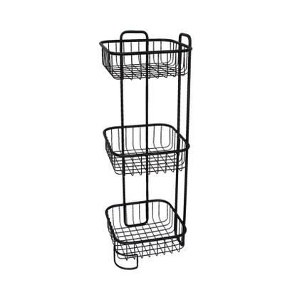 Wire Bathroom 3 Tier Square Freestanding Floor Stand - Black