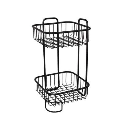 Wire Bathroom 2 Tier Square Freestanding Floor Stand - Black