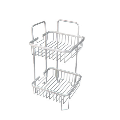 Bathroom Aluminium Square Shower Rack - 2 Tier