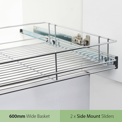 Tansel Pull Out Side Mount Wire Basket Kit for Internal Cabinet Width 667-670mm