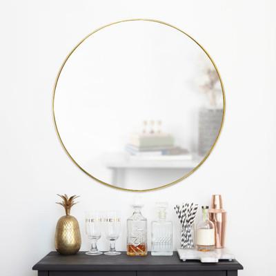 Umbra Hubba Round Wall Mirror - Brass