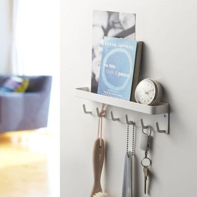 Smart Magnetic Key Hooks & Tray - White
