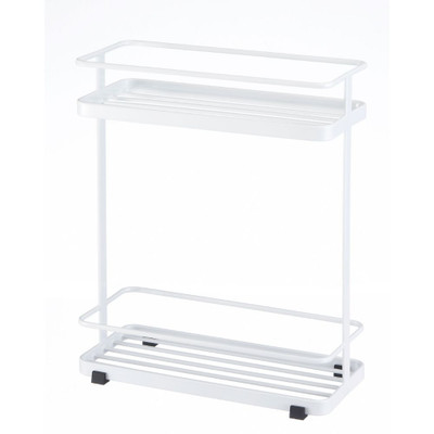 Two-Tier Tower Shower Caddy Rack- White