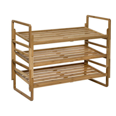 3-Tier Nesting Bamboo Shoe Storage Rack - Natural