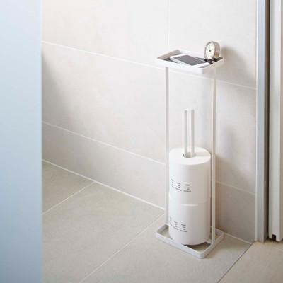 Toilet Roll Holder & Stand - White