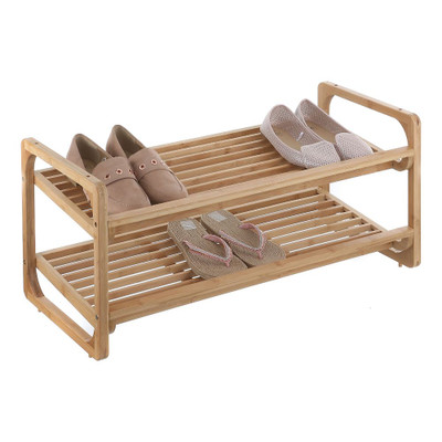 2 Tier Bamboo Stackable Shoe Rack