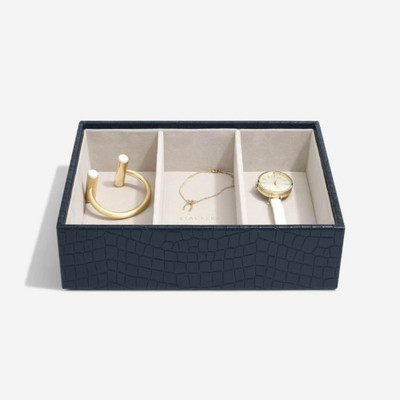 Stackers Classic  Jewellery Box Tray 3 Deep Compartment - Navy Croc