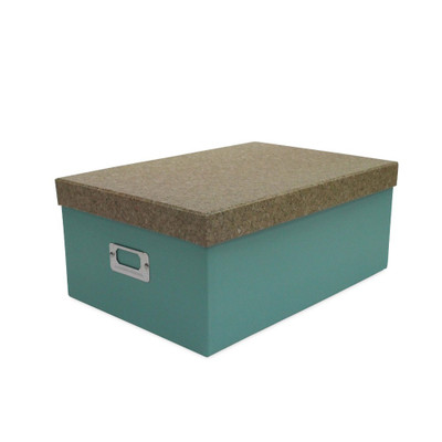 Howards Storage Box with Lid Large - Green/Cork